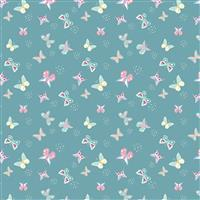 Riley Blake Poppy & Posey Teal Butterfly Fabric 0.5m