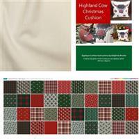 Delphine Brooks Traditional Christmas Highland Cow Cushion Kit: Instructions, Fabric Panel & Fabric (0.5m)