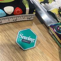 Green Sewing Street Logo Pin Badge