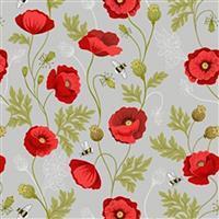 Lewis & Irene Poppies Grey Poppy Stems Fabric 0.5m