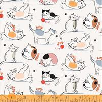 Mod Cat Cats Playing Ivory Fabric 0.5m