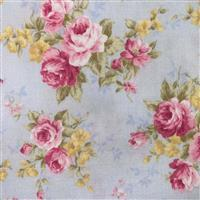 Floral Story Rose Bunches On Sky Fabric 0.5m - Sewing Street exclusive