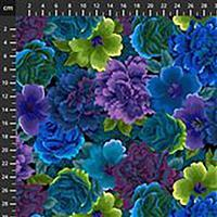 Noble Menagerie Assorted Flowers in Violet Fabric 0.5m