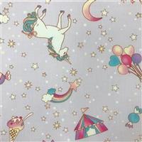 Unicorn Fantasy On Lilac Fabric 0.5m