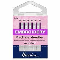 Hemline Sewing Machine Mixed Embroidery Needles Pack of 6