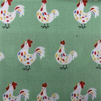 Hens On Green Fabric 0.5m - exclusive