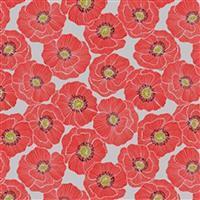 Lewis & Irene Poppies Grey Poppy Head Fabric 0.5m