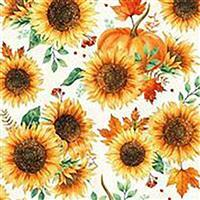 Hoffman Autumn Is In The Air Harvest Gold Sunflower Fabric 0.5m