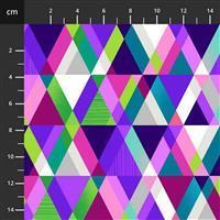 Henry Glass Mid Century Modern Purple Pyramid Fabric 0.5m