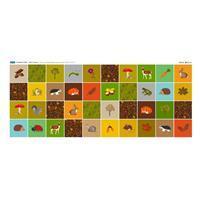 Woodland Creatures 40 Squares Fabric Panel (140 x 62cm)