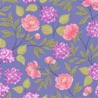 Lewis & Irene Love Blooms Florals On Mauve Fabric 0.5m