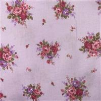 Floral Story Rose On Lilac Fabric 0.5m - Sewing Street exclusive