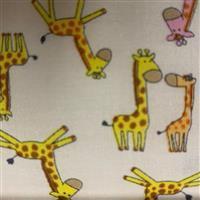 Giraffes On White Fabric 0.5m - exclusive