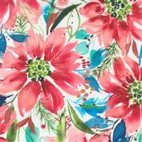 Moda Starflower Christmas White Floral Fabric 0.5m