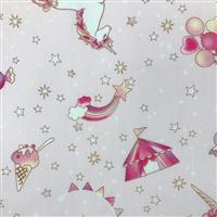 Unicorn Fantasy On Pink Fabric 0.5m