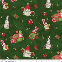 Riley Blake Gnome for Christmas Green Wrapped Gnome Flannel Fabric 0.5m