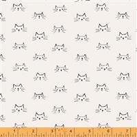 Mod Cat Cats Faces Ivory Fabric 0.5m