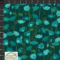 Garden Passion Poppies on Teal Blue Fabric 0.5m