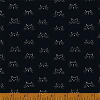 Mod Cat Cats Faces Black Fabric 0.5m