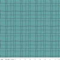 Riley Blake Mod Meow Checked Teal Fabric 0.5m