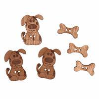 Wooden Buttons Dog Pack Of 6