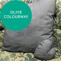 Olive Embroidered Heart & Cushion Kit, Instructions & Fabric Panel
