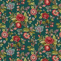 Henry Glass Tarrytown Main Floral on Teal Fabric 0.5m