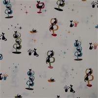 Riley Blake Mod Meow Starry Cats Cream Fabric 0.5m