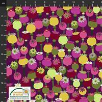 Garden Passion Multi Flower on Purple Fabric 0.5m