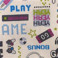 Game On Icons Cream Fabric 0.5m
