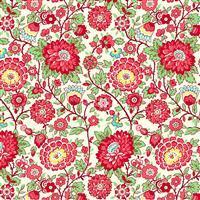 Henry Glass Nana Mae V Red Floral Fabric 0.5m