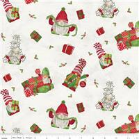 Riley Blake Gnome for Christmas Parchment Wrapped Gnome Flannel Fabric 0.5m