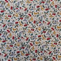 Country Floral Red Berries on White Fabric 0.5m Exclusive