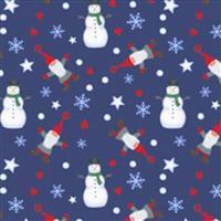 Lewis & Irene Tomten & Friends Snowmen On Navy Fabric 0.5m