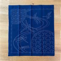 """Sashiko Dragonfly Fabric Panel 30x30cm (12 x 12"""")"""