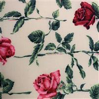 Country Floral Red Rose on Cream Fabric 0.5m Exclusive