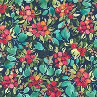 Moda Starflower Christmas Navy Floral Fabric 0.5m