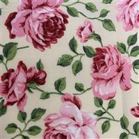 Country Floral Pink Peony on Cream Fabric 0.5m Exclusive