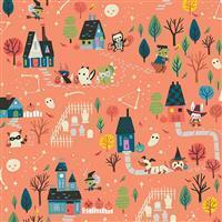 Riley Blake Tiny Treaters Orange Trick or Treat Fabric 0.5m