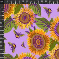 Sassy Summer Salsa Purple Sunflower Fabric 0.5m