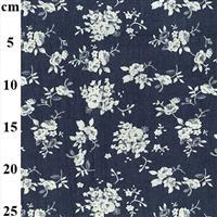 White Floral Dark Denim Print Fabric 0.5m
