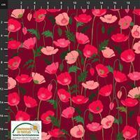 Garden Passion Poppies on Crimson Fabric 0.5m