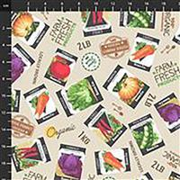 Certified Delicious Seed Packets On Ivory Fabric 0.5m