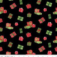 Riley Blake Gnome for Christmas Black Presents Flannel Fabric 0.5m