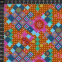 Anna Maria Horner Love Always Orange Flower Pixel Fabric 0.5m