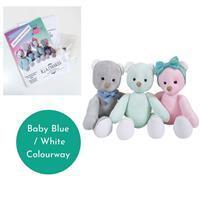 "Becky Alexander Frost Maisie & Milo Bear Kit makes 12"" Bear Baby Blue / White"