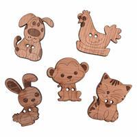 Wooden Buttons Animals Pack Of 5
