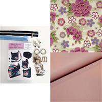 Becky Alexander Frost Kick the Bucket Bag Kit; Fabric, Pattern & Hardware - Pink Blooms
