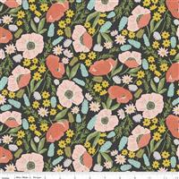 Riley Blake Tea With Bea Charcoal Floral Fabric 0.5m