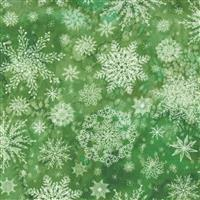 Moda Starflower Christmas Green Snowflake Fabric 0.5m